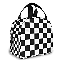 Black White Race Checkered Flag Portable Insulated Lunch Tote Bag Reusable Lunch Box For Men, Women And Kids