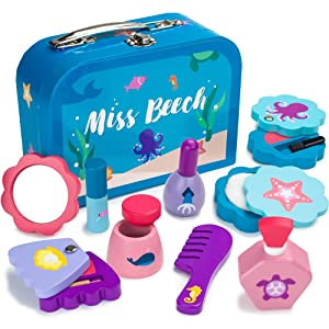 Imagination Generation Miss Beech's Beauty Bag | Children's Pretend Play Wooden Makeup Kit with Mirror, Comb, Nail Polish, and Assorted Cosmetics (10 pcs)