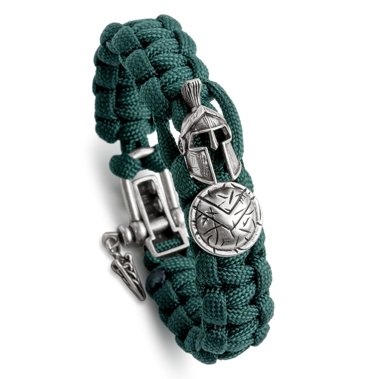 Kayder Antique Silver Spartan Helmet & Warrior Shield Charm Paracord Bracelet with Adjustable Metal D Shackle Closure, Men and Boys Jewelry Gift, Rainforest Green