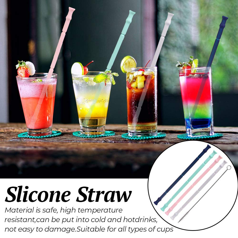 Silicone Folding Straws Reusable Collapsible Silicone Drinking Straws for Kids  Adult with Cleaning