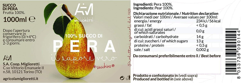 Agricola Miglioretti 100% Jugo De Pera 1Lt 1000 g: Amazon.es: Alimentación y bebidas