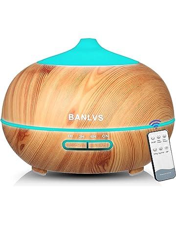 BANLVS Humidificador Aromaterapia Ultrasónico 400ML, Difusor de Aceites Esenciales de 7-Color LED y