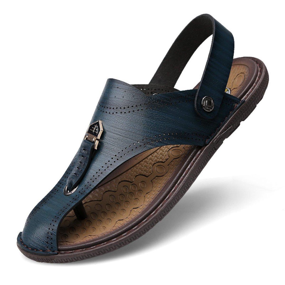 LXXAMens Verano Playa Hombre Zapatilla Peso Ligero Cuero Real Sandalias Zapatos Deportivos Al Aire Libre Dos Usos,Blue-41EU 41EU|Blue
