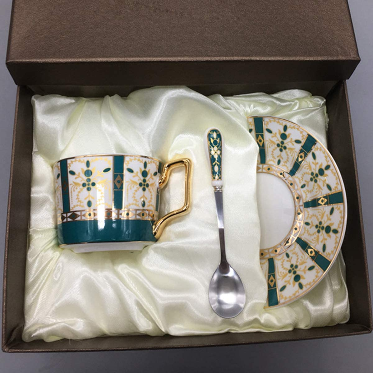 160ml Porcelain Coffee Cup fanquare British Vintage Fine Bone China Tea Cup and Saucer Set