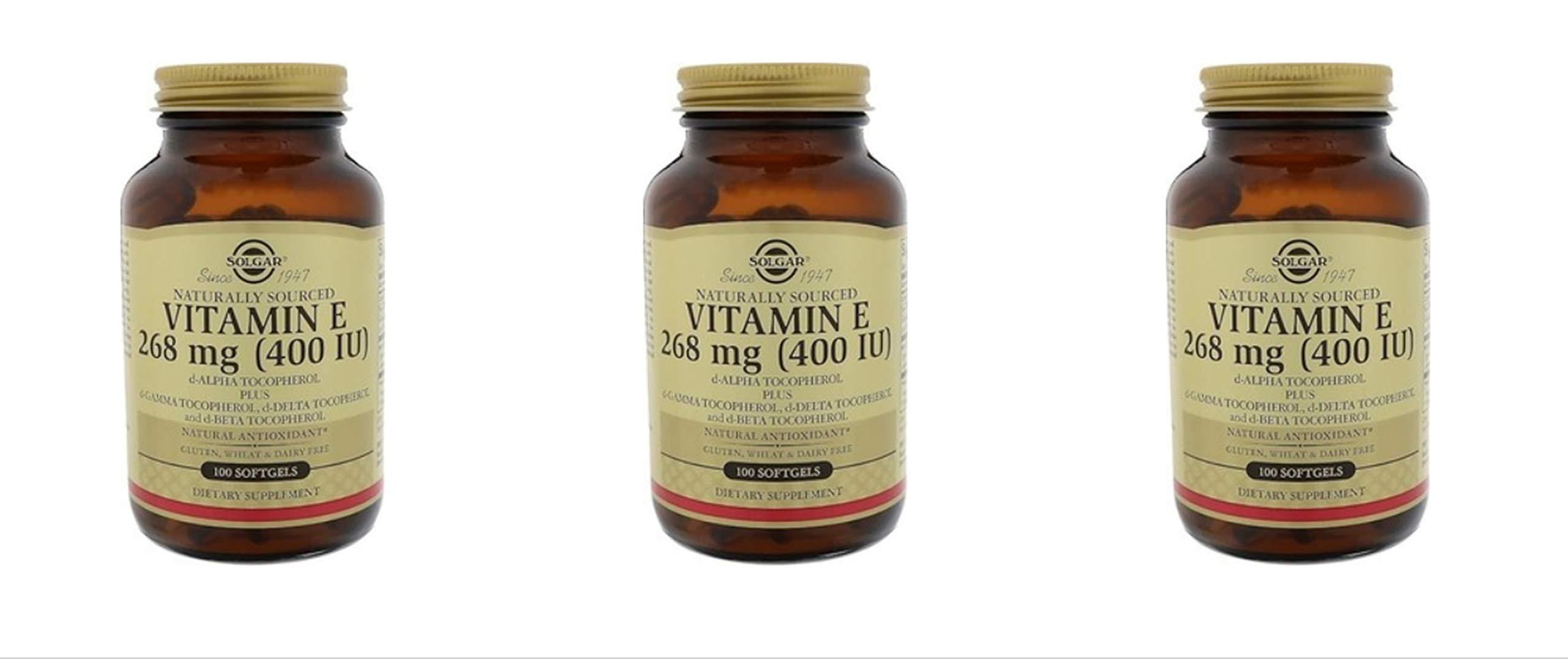 Solgar Vitamin E 400 IU D-Alpha with Mixed Tocopherols 100 Softgels (3 Pack)