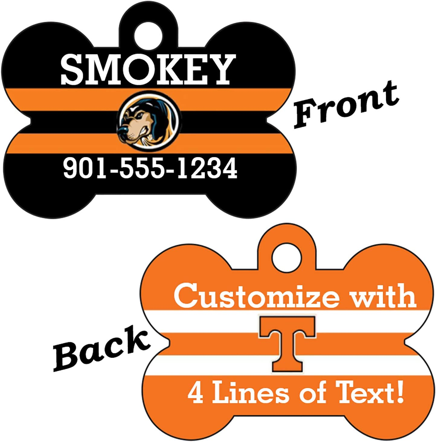 uDesignUSA Tennessee Volunteers Double Sided Pet Id Dog Tag Personalized with 4 Lines of Text