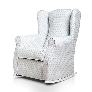 SUENOSZZZ-ESPECIALISTAS DEL DESCANSO Olivia Sillon tapizado, sillón Lactancia Materna. Sillon tapizado en Tela Estampada Color Blanco, Estrellas ...
