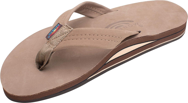   Rainbow Sandals Men's Premier Leather Double Layer with Arch Wide Strap, Dark Brown, Men's Large / 9.5-10.5 D(M) US   Sandals