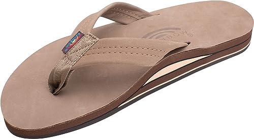 Men Rainbow Sandals Dark Brown Single Layer