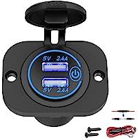 Qidoe Auto USB-stopcontact 12 V-24 V met schakelaar, auto-oplader, USB-inbouw, bus, waterdicht, sigarettenaansteker…