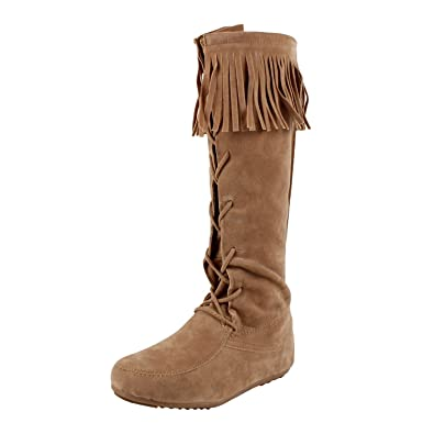 Amazon.com | West Blvd Havana Fringe Moccasin Knee High Boots ...