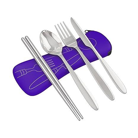 Juego de 4 piezas de cubiertos de acero inoxidable (cuchillo, tenedor, cuchara) ligeros, para viajes y acampadas, con funda de neopreno, utensilios ...