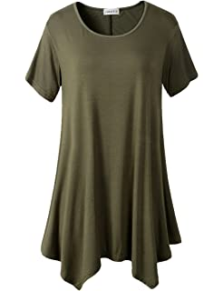 816790c7acbd48 Amazon.com  JollieLovin Women s Short Sleeve Loose Fit Flare Hem T ...
