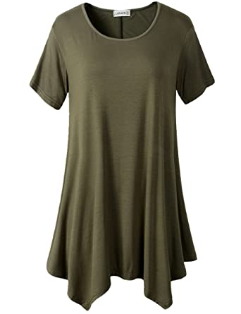 Lanmo Womens Swing Tunic Tops Loose Fit Comfy Flattering T Shirt ...