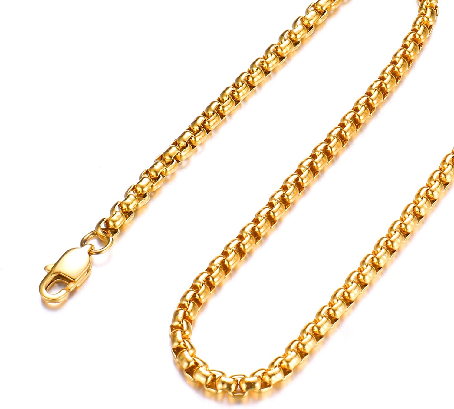 FEEL STYLE Men Necklace 18k Gold Plated Chain 3-5mm Twist Rope Box Necklace Chain for Mens Boy Teen Jewelry Gift 14-30 Inch