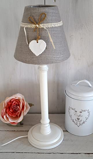 Excellent Gallery Of Lampe Tischlampe Vintage Shabby Chic Leuchte Grau Wei  Gro Cm Grau With Tischlampe Wei With Kchensthle Shabby Chic