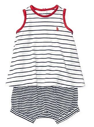 amazon com ralph lauren little girls striped tank bloomer set