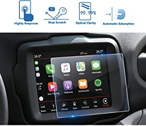 LFOTPP Fit for 2018 2019 Jeep Renegade 8.4 Inch Center Touch Screen Protector, Tempered Glass in-Dash Clear Screen Protector