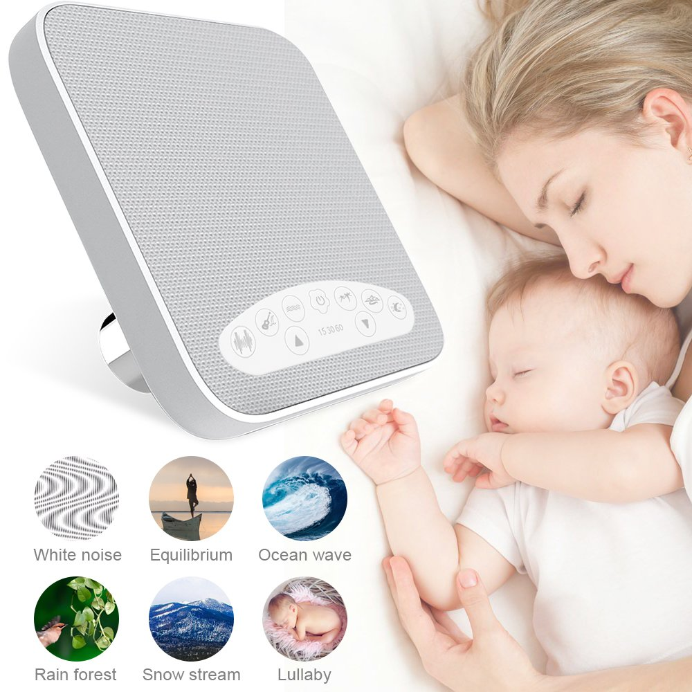 White Noise Machine, 2018 Upgraded Sleep Sound Machine, Sound Therapy Machine with 3 Timers & 6 Natural Sound Options Including Lullaby, Ideal for Tinnitus Sufferer, Light-Sleeper, Kid, Baby jarvania by Jarvania