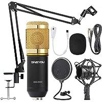 Zingyou BM-800 Condensatormicrofoon, met verstelbare microfoonarm, schokdemper en dubbellaagse popfilter voor studio-opnames en broadcasting Medium goud…