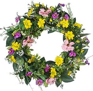 GameXcel Door Wreath for Thanksgiving - 15In Daisy Wreath Front Door Wreath Artificial Floral Wreaths Indoor Natural Vine Flowers Wreaths Home Decor for Window, Outdoor, Wedding, All Season