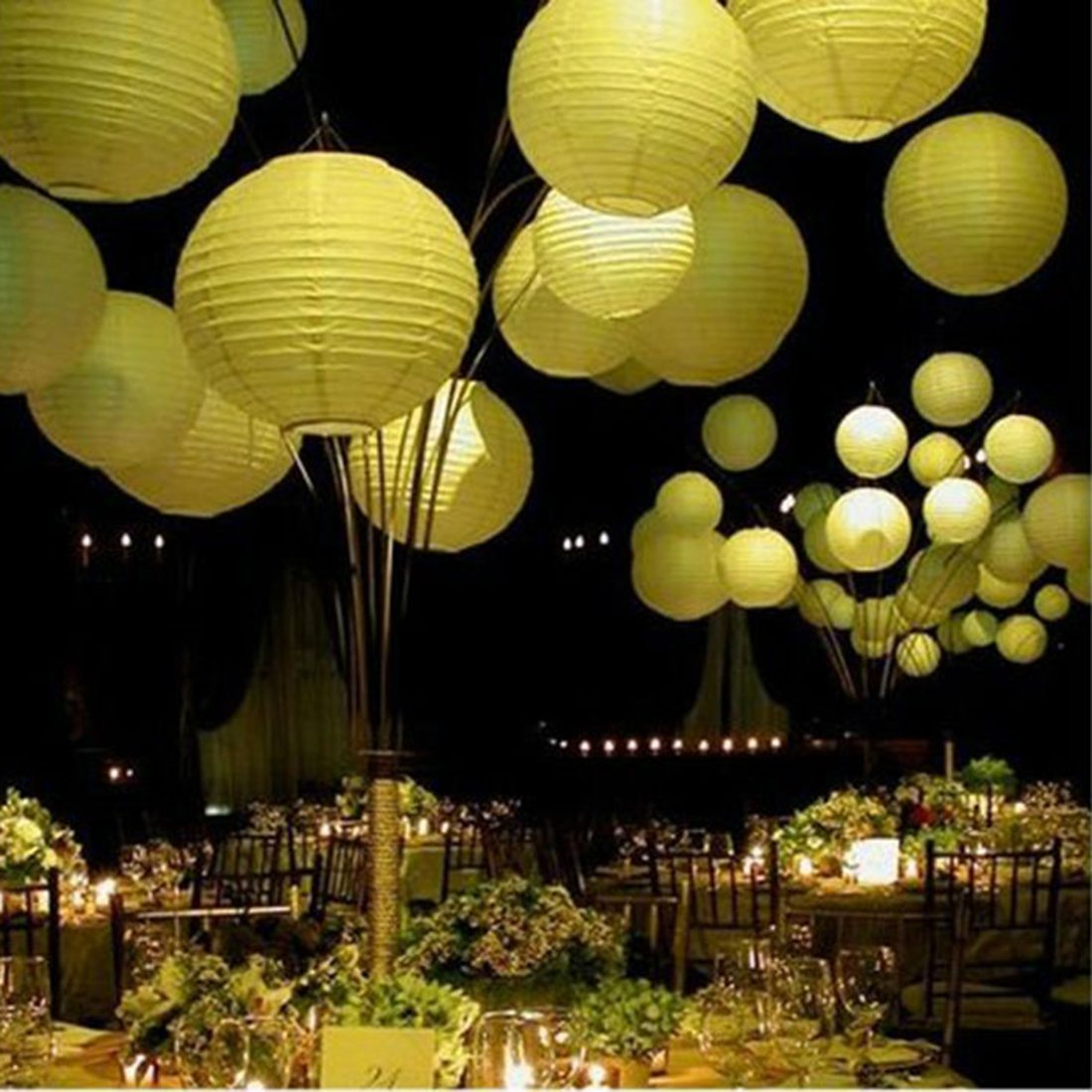 Click to buy Wedding Reception Decoration Ideas: Ribbed Yellow Round Paper Lantern from Amazon!