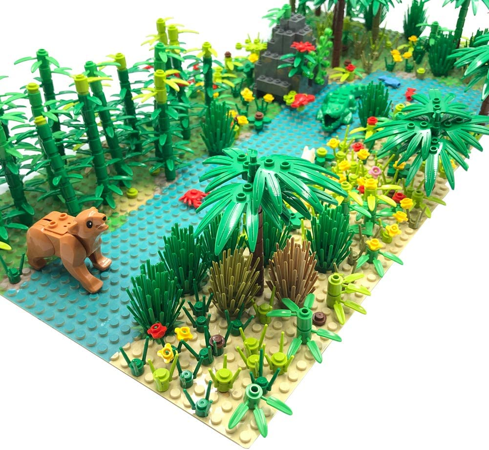 2 Pieces 10 Base Plates Forest Garden Building Sets Parts Plants Trees Flowers Scenery Accessories Animals Building Bricks Toy Set Compatible with All Major Brands