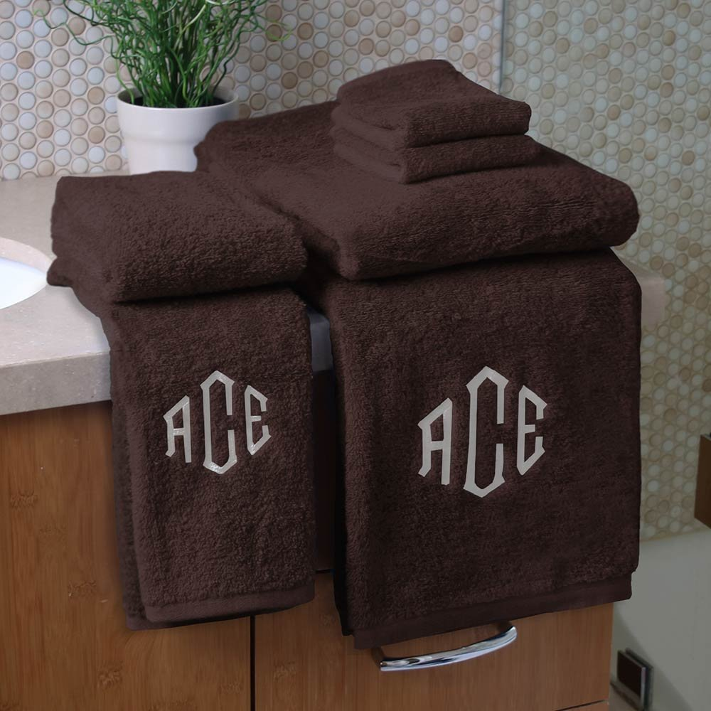 Personalized Monogrammed Decorative Bath Linens for Home, Office, and Gifts. Hotel Collection 100% USA Made 6-Piece Towel Set - Coco Brown - 2 Bath, 2 Hand & 2 Wash Towels. Boutique Towels.