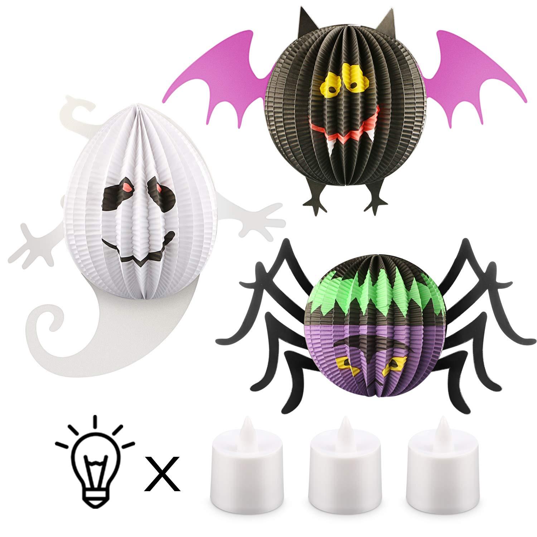 Magicfun Lanternes de Papier d'halloween, 3 pièces Lanternes Suspendues d'halloween avec LED Lumières Spider Bat Ghost Décoration pour la fête d'halloween