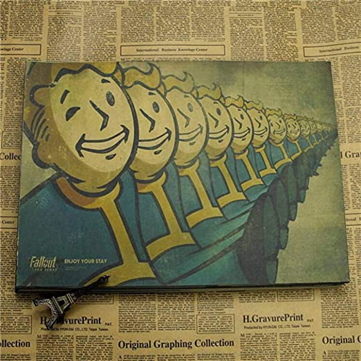 WSKRZS Etiqueta De La Pared Vintage Fallout 3 4 Juego Poster Bar ...