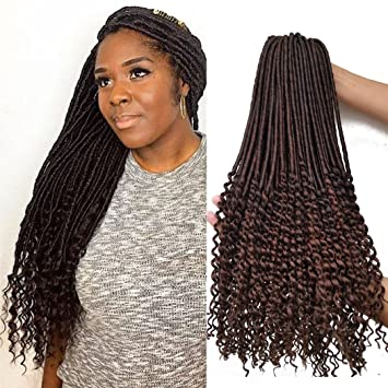 Amazon.com: Goddess Faux Locs Curly Crochet Hair Braids 6packs ...