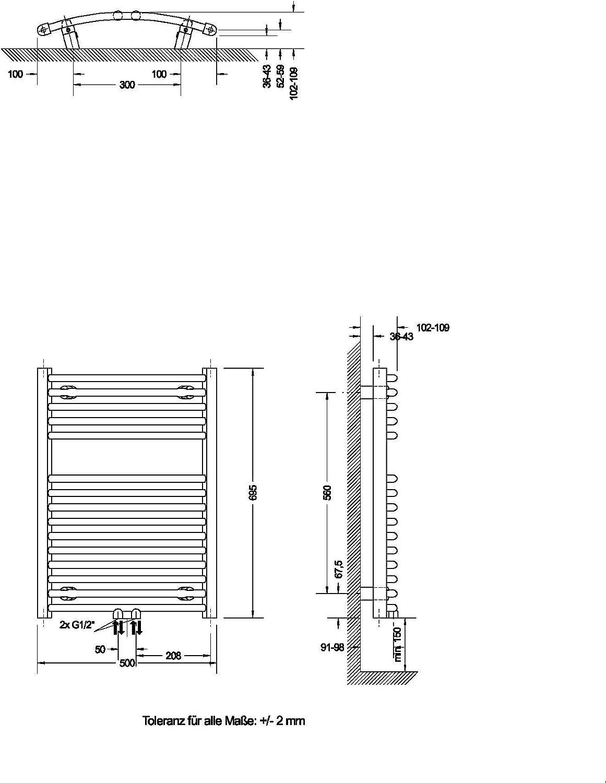 Handtuchhalter-Funktion 70 x 50 cm Schulte Bad-Heizk/örper Europa gebogen alpin-wei/ß Anschluss beidseitig unten 331 Watt Leistung