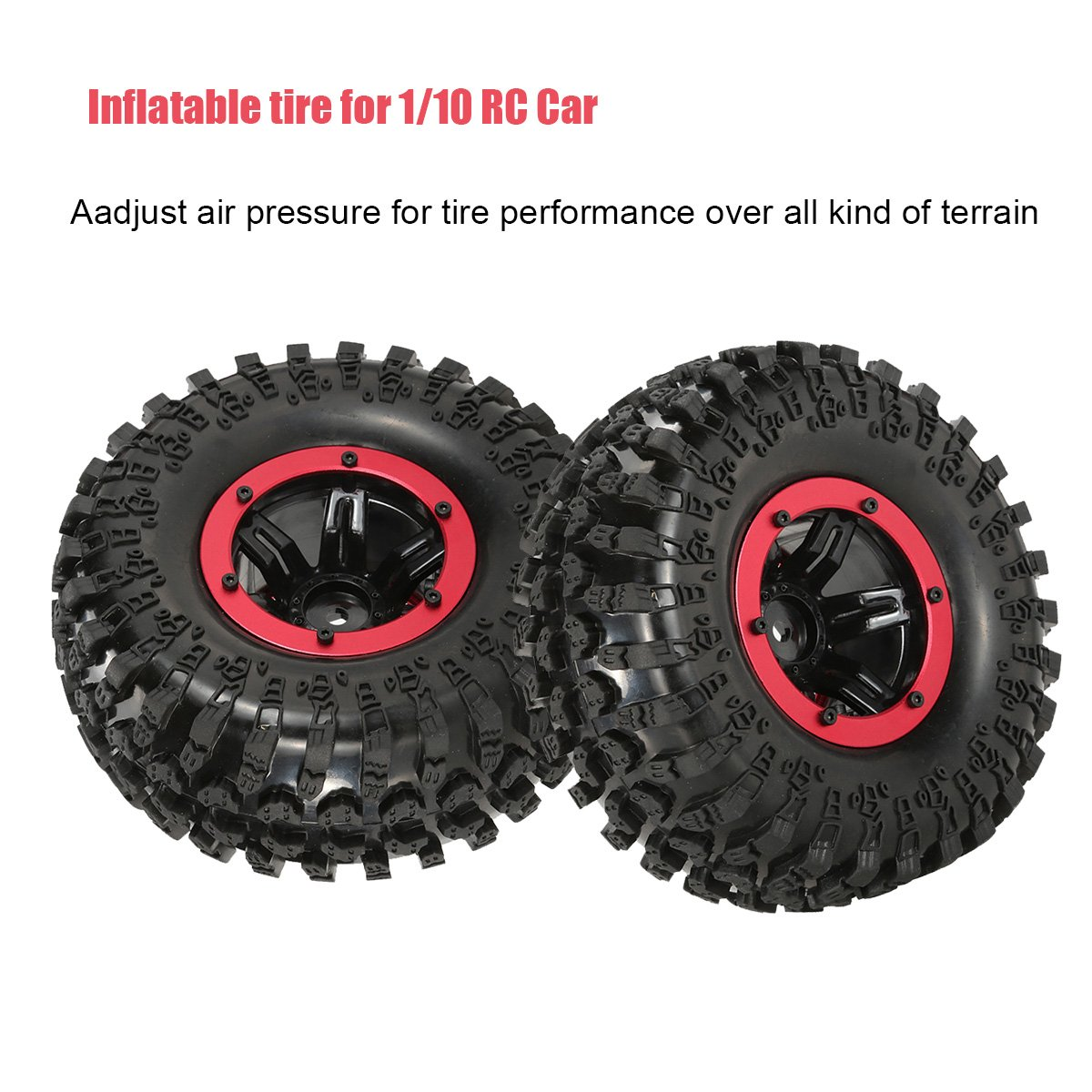 LAFEINA RC Air Pneumatic Tyre 2.2 Inch Beadlock Wheel Rim Inflatable Tires for 1//10 RC4WD D90 Axial SCX10 RC Crawler Truck Parts