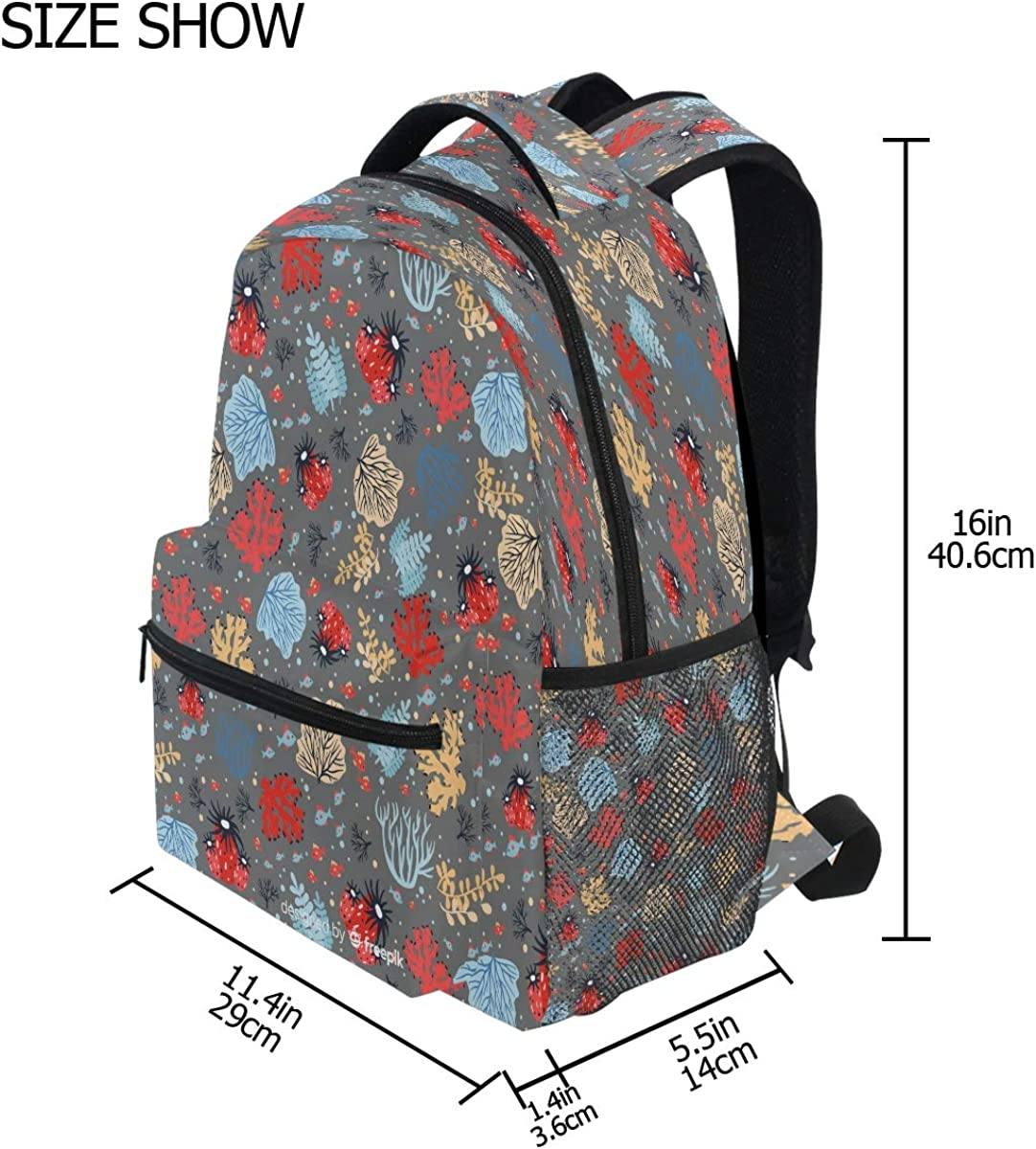 Laptop Backpack Boys Grils Flat Coral School Bookbags Computer Daypack for Travel Hiking Camping