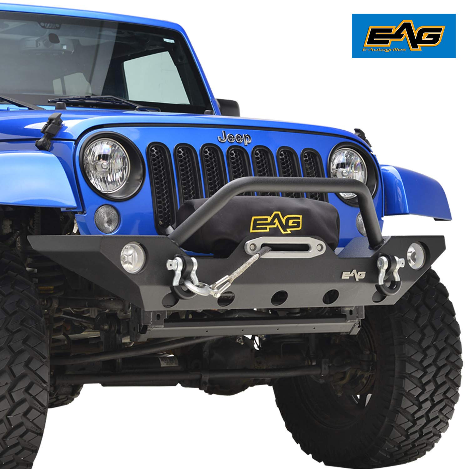 E-Autogrilles 51-0328 EAG 07-18 Jeep Wrangler JK Rock Crawler Off road Front Bumper with Winch Mounting Plate