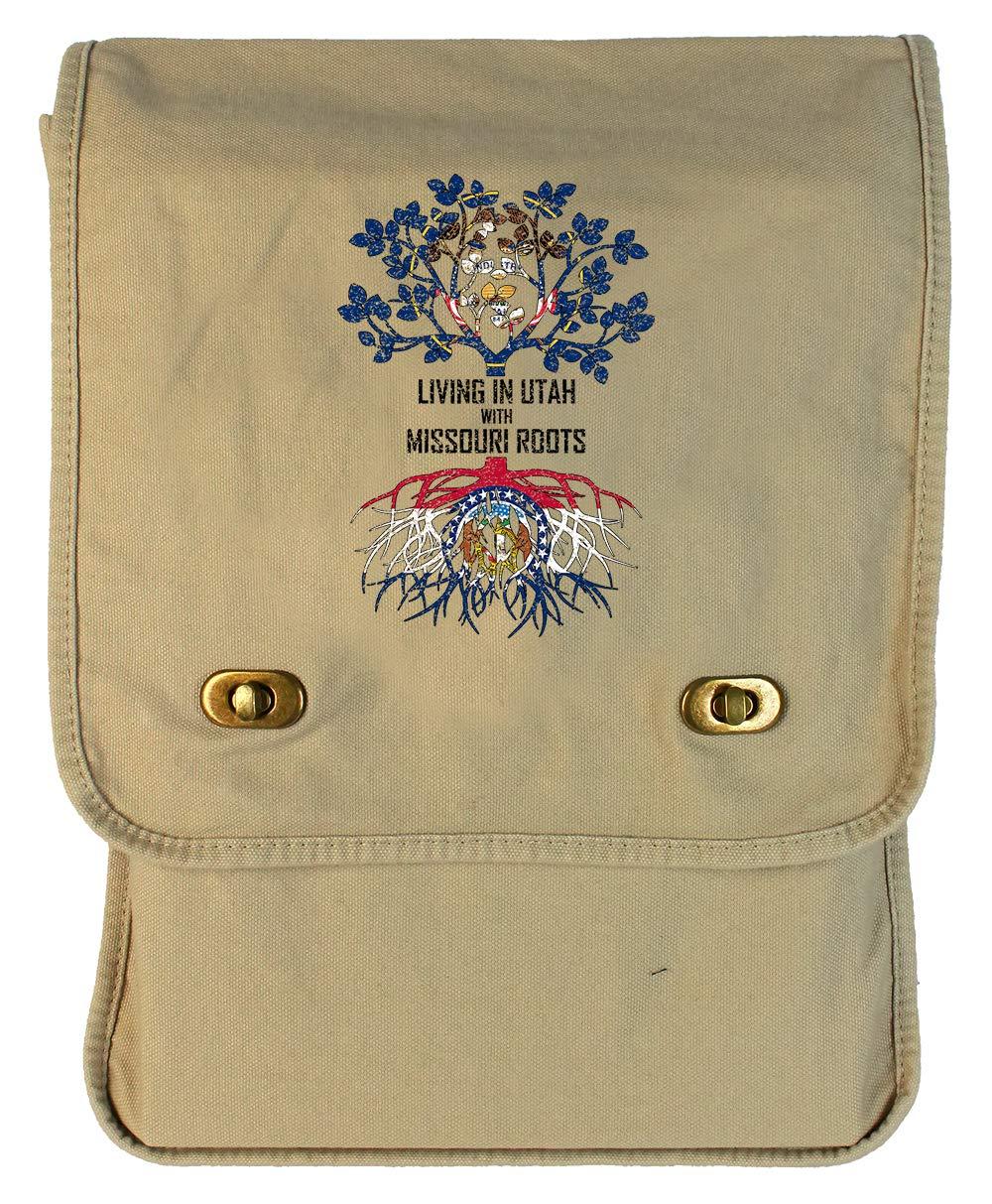 Tenacitee Living In Utah with Missouri Roots Grey Brushed Canvas Messenger Bag
