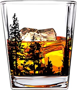 Boravis Whiskey Glasses-Landscape Set of 2 10oz Crystal Heavy Base Rock Tumblers for Drinking Scotch, Bourbon, Cognac, Gift Ready Box for Men, Father, Husband, Boyfriends, Brothers