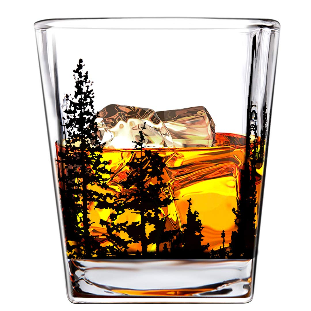 BORAVIS Whiskey Glasses - Landscape Set of 2 10oz Crystal Heavy Base Rock Tumblers for for Drinking Scotch, Bourbon, Cognac, Gift Ready Box for Men, Father, Husband, Boyfriends, Brothers, by