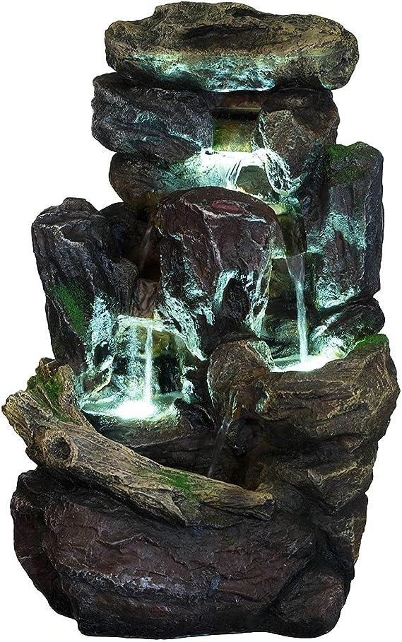 Piedras XL de poliresina para fuente, con musgo y efecto cascada, con 3 luces LED (G53-2913B - Fuente 8), para decorar el jardín y que se bañen los pájaros, con bomba eléctrica (