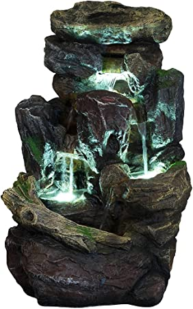 Piedras XL de poliresina para fuente, con musgo y efecto cascada, con 3 luces LED (G53-