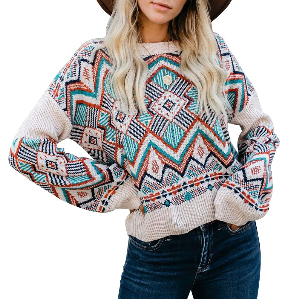 ETCYY NEW Womens Oversized Pullover Sweater Colorblock Rainbow Striped Casual Long Sleeve Loose Knitted Shirts Tops (Bohemia, Medium) by ETCYY NEW