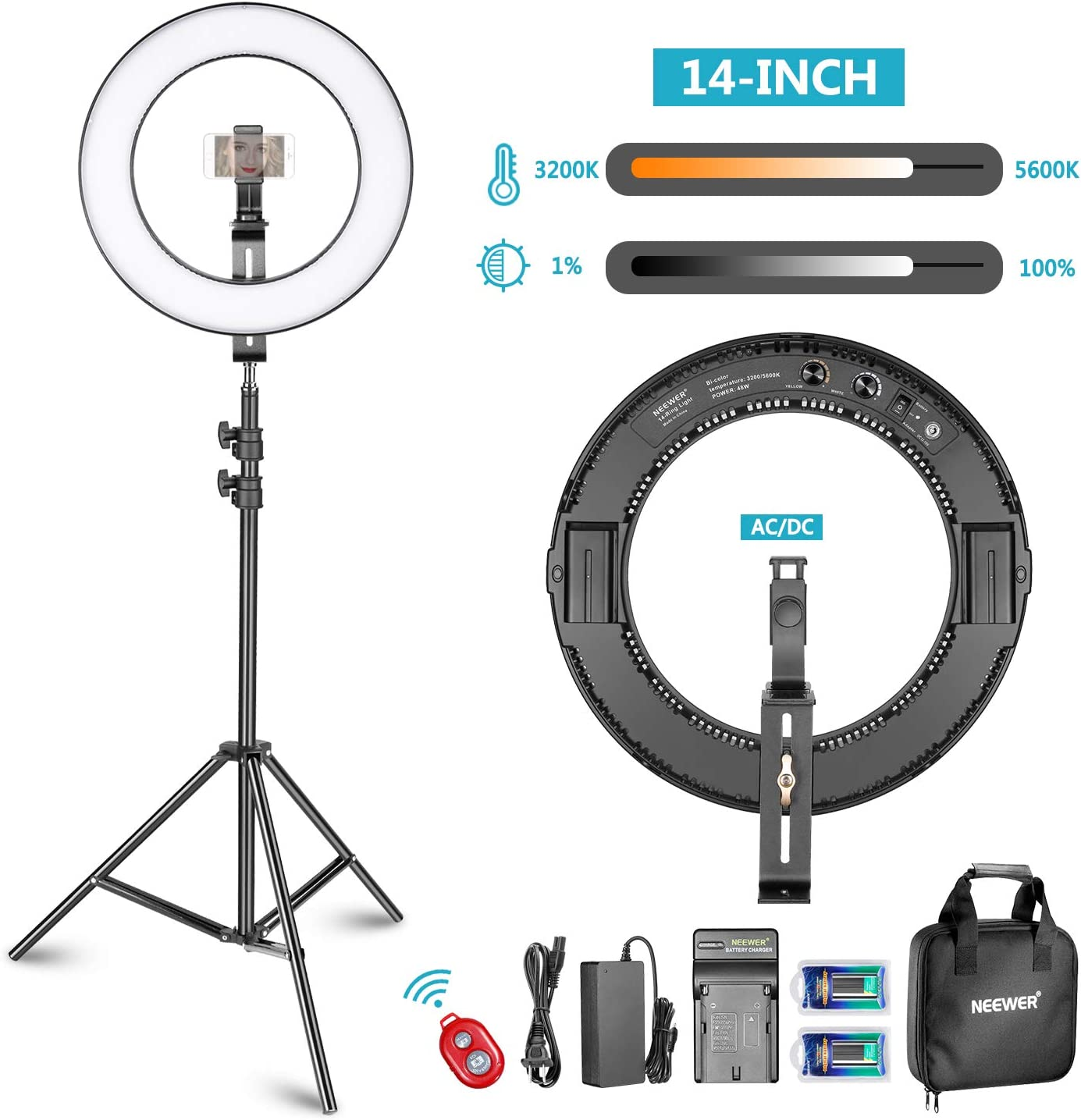 "16/"" Ring Light LED Dimmable 5500k Adjustable Lighting Stand Support Li-battery"