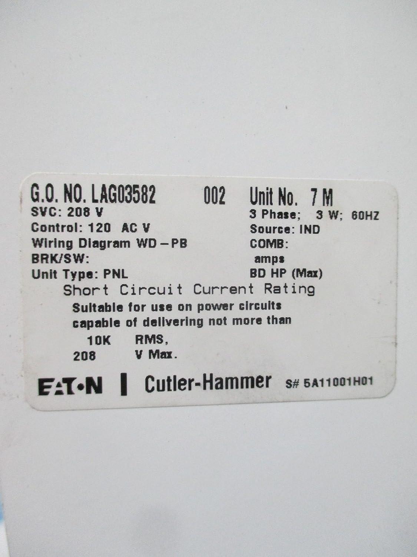 Eaton Cutler Hammer Prl1a 225a 208y 120 V 3ph 3w Mlo Panelboard 2100 Ac Wd Wiring Diagram Mcc Bucket Industrial Scientific