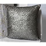Stylish Comfy Solid Color Sequins Cushion Cover Throw Pillow Case Cafe Decor (Gray)