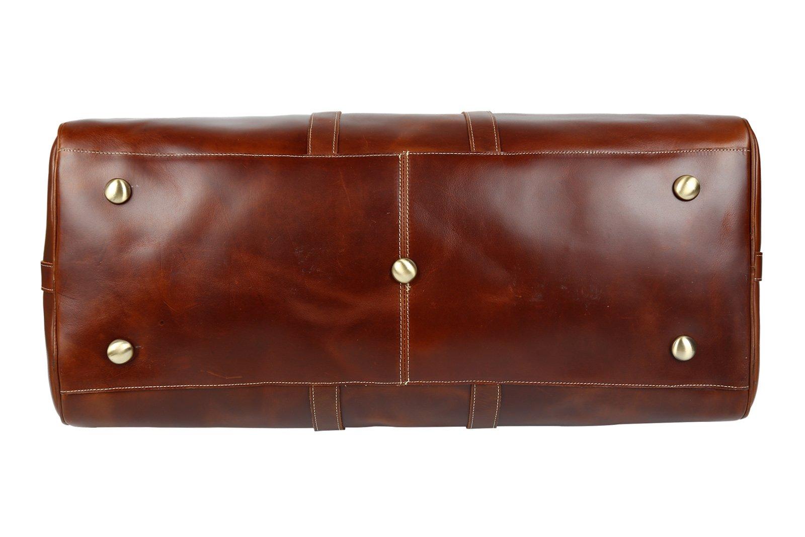 Huntvp Mens Leather Travel Duffel Bag Vintage Weekender Carry On Brown Luggage Bag by Huntvp (Image #5)