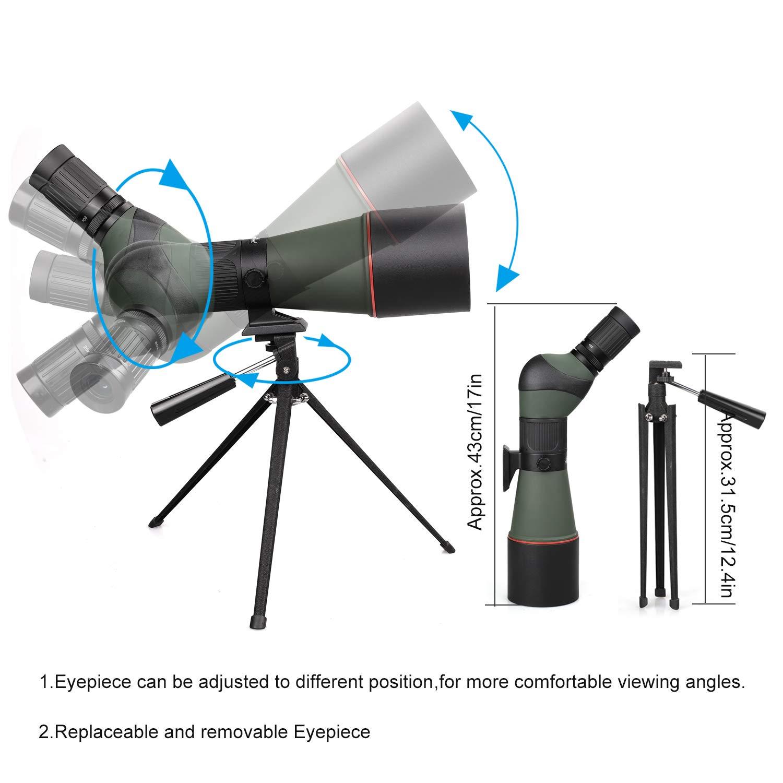 Caza con Kit de Bolsa de Transporte Telescopio Impermeable HD de 20-60-80 mm con Tr/ípode Tiro con Arco Totalmente Recubierto Telescopio Monocular para Observaci/ón de Aves Tiro al Blanco