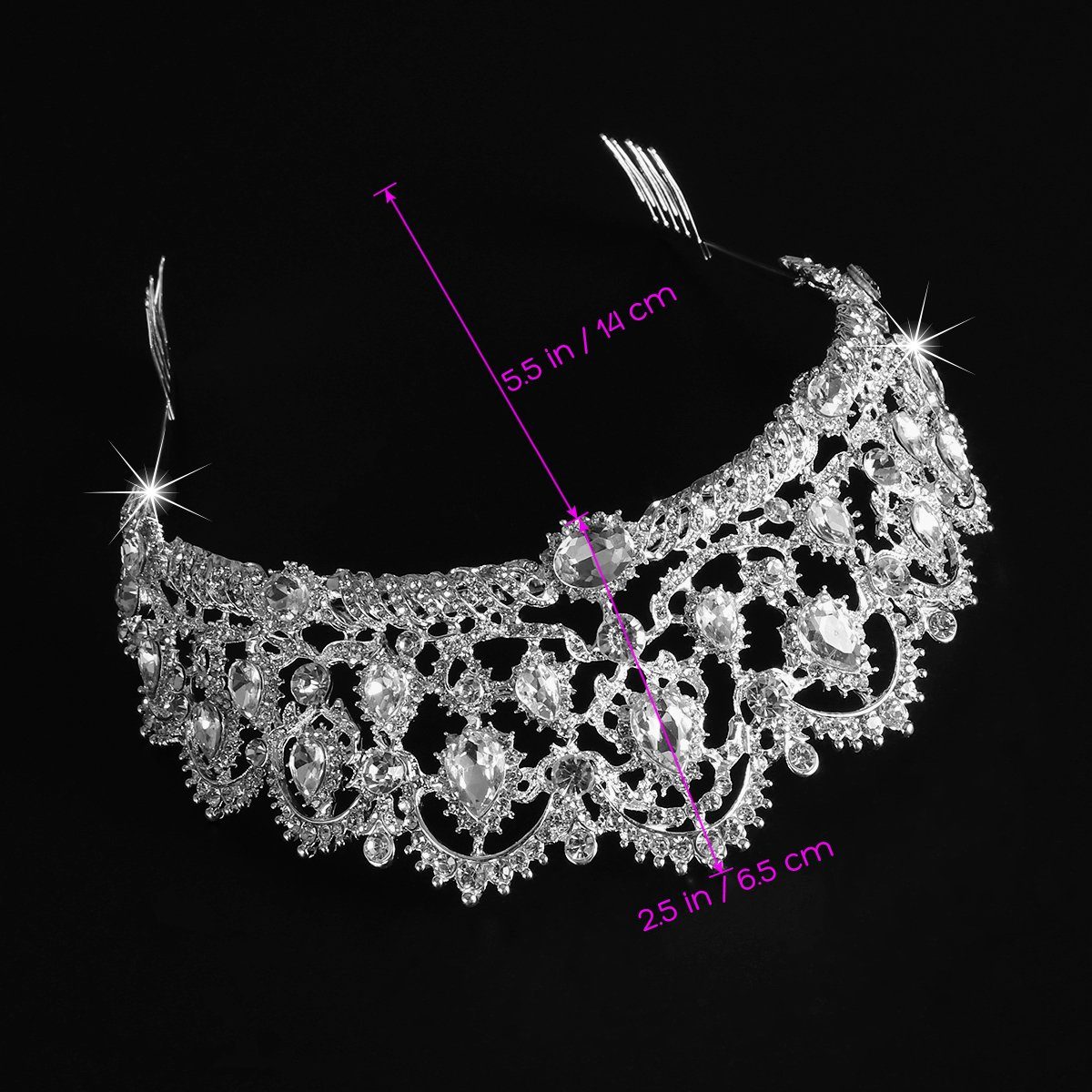 Tiara Crowns, Rhinestone Crystal Queen Tiara Headband Wedding Pageant Crowns Princess Crown for Women