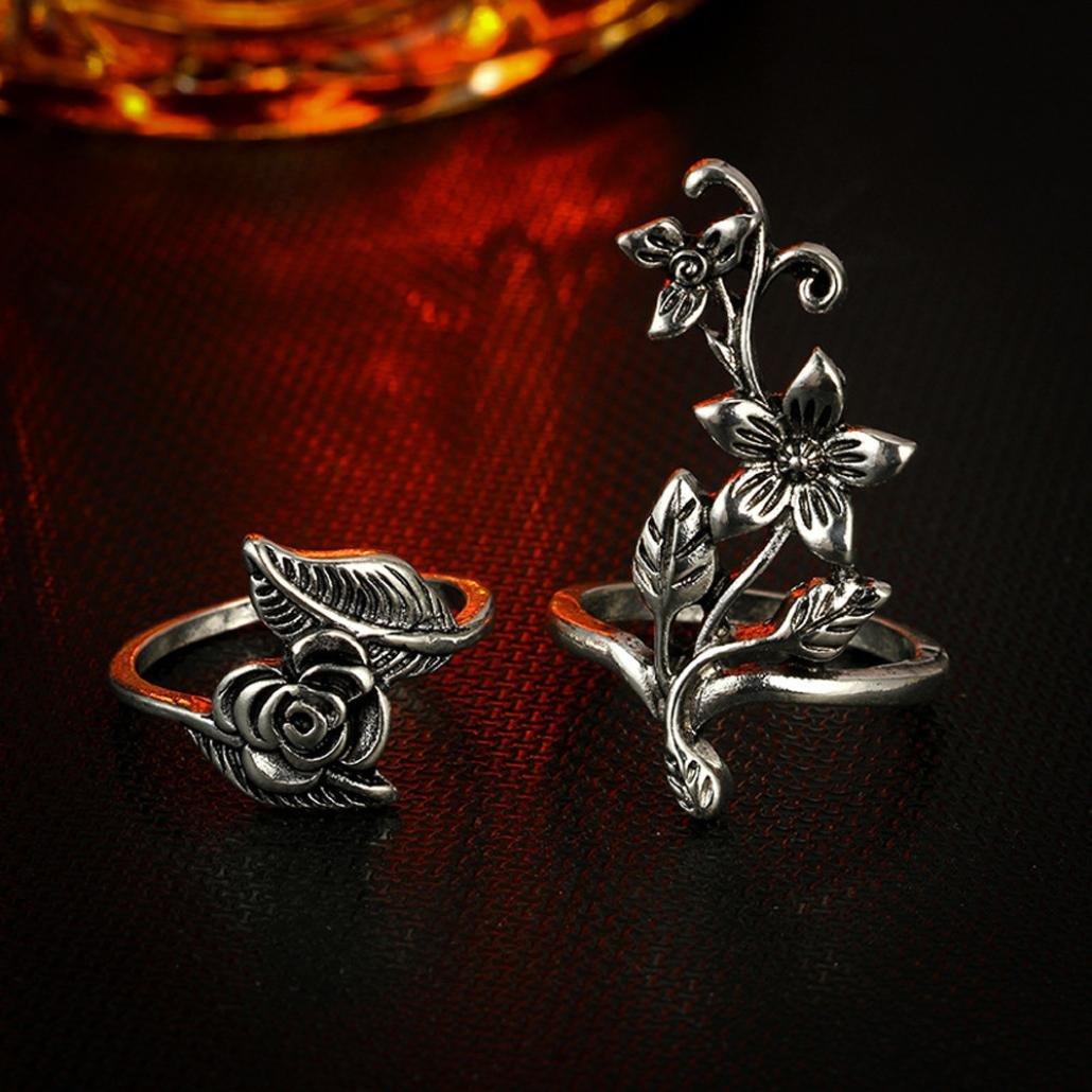 Clearance ! Vintage Ring Set,Vanvler 7pcs Stack Rings Above Knuckle Bohemian Rings (Silver Flowers) by Vanvler Ring (Image #3)