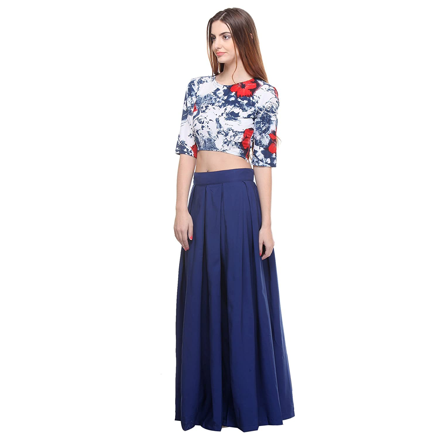 2b9a189531cc Closet Drama Womens navy blue box pleat maxi skirt ( wskt2-1601S_navy  blue_S): Amazon.in: Clothing & Accessories