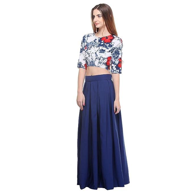0ec1068d2baeec Closet Drama Womens navy blue box pleat maxi skirt ( wskt2-1601S_navy  blue_S)